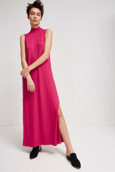 blush pink pink maxi dress with high slit