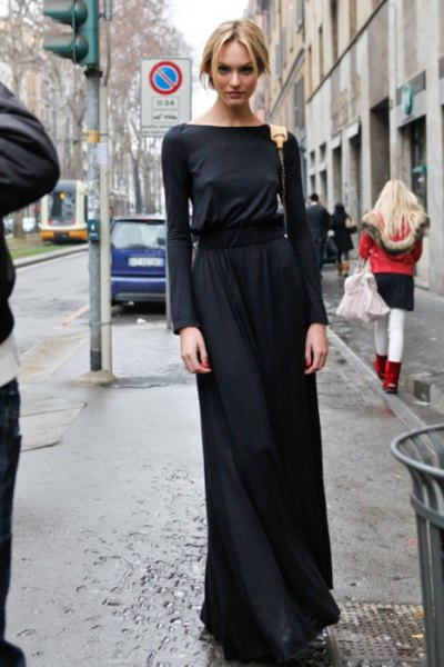 black long sleeve sweater maxi dress