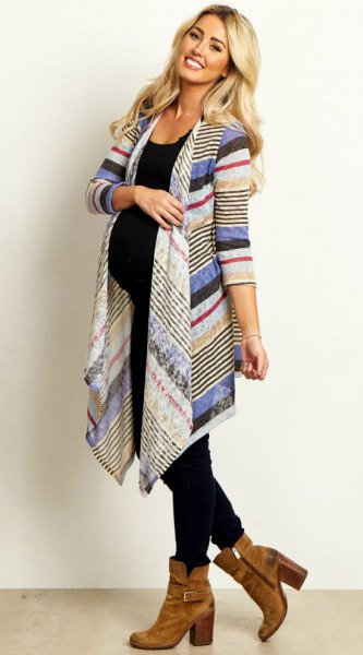 blue white and red pointed long mommy cardigan with black vest top