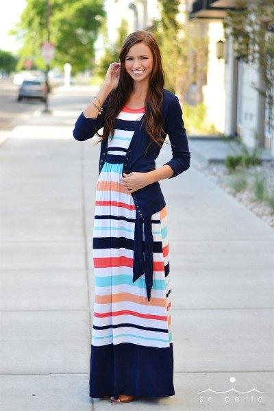 navy sweater cardigan with blue and white color block maxi dress for maternity