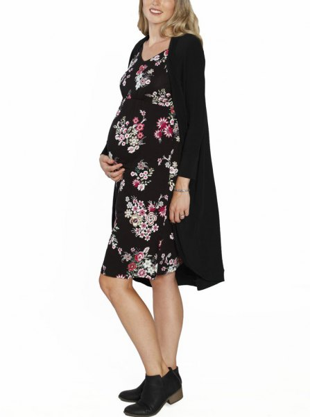 black long cardigan with printed knee-length dress