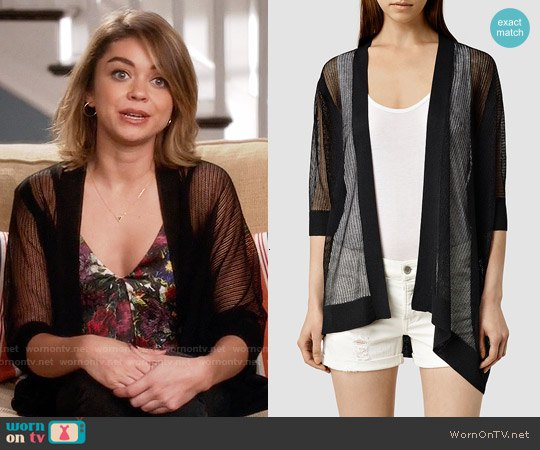 black sheer cardigan with deep floral printed top in v-neck