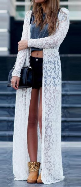white maxi floral printed clean cardigan with gray crop top and black mini-denim shorts