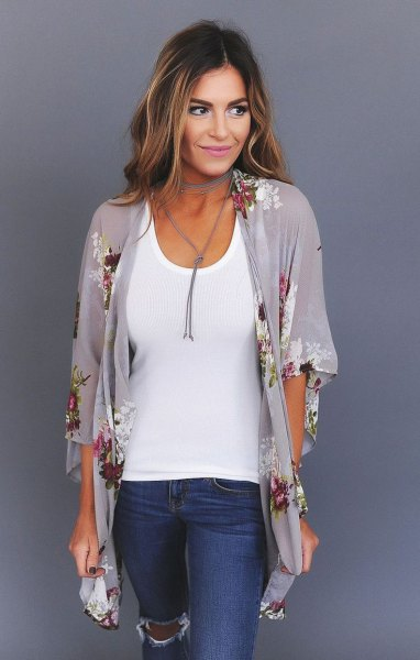 gray floral printed chiffon cardigan with half sleeve with white top