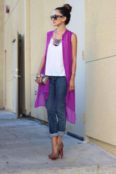 purple sleeveless cardigan with white chiffon top