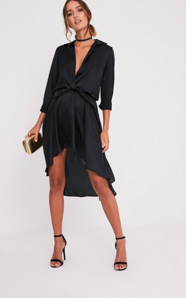 black deep v-neck high low knee length party dress with choker