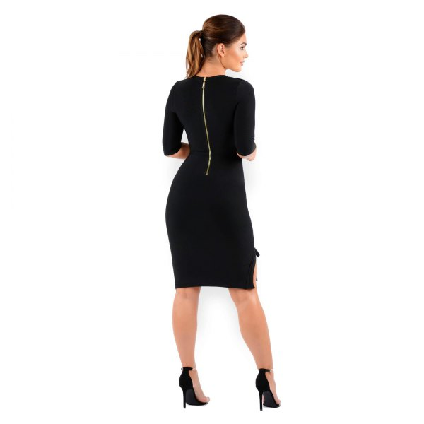 zipper up the back half-heated shape matching knee length dress