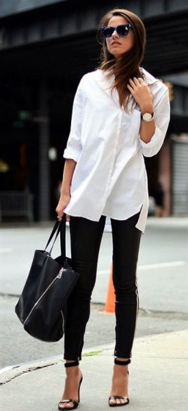 white button up long blouse with black skinny ankle jeans and open toe heels