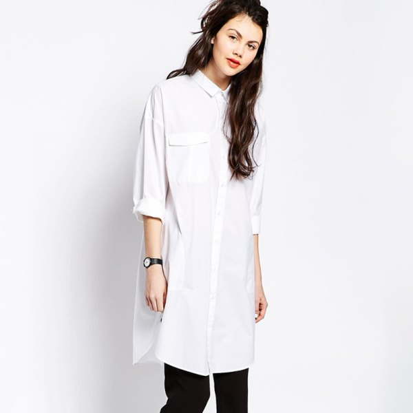 white long button up shirt with black slim fit jeans
