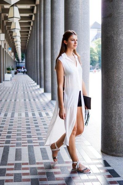 white sleeveless chiffon maxi longline blouse with black mini shorts