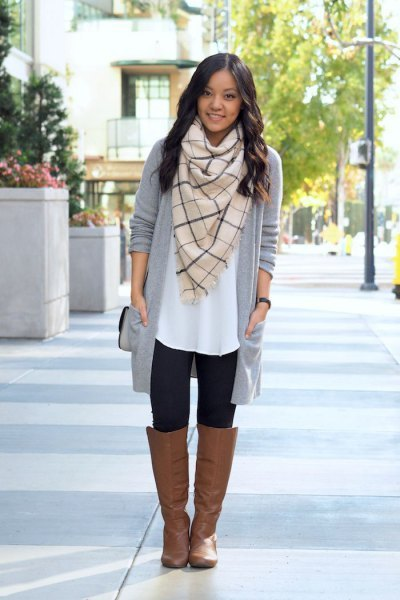 white tunic blouse with pink pink scarf and gray longline cardigan