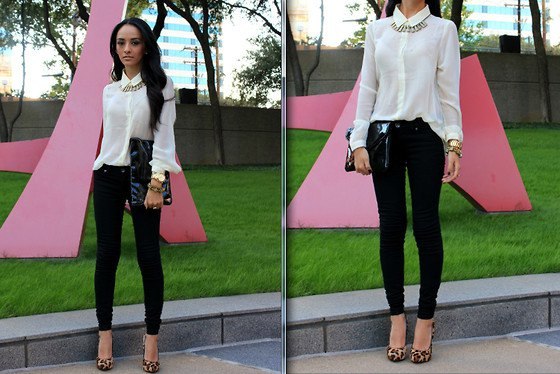 white button up clean shirt with black skinny jeans and heels with leopard print