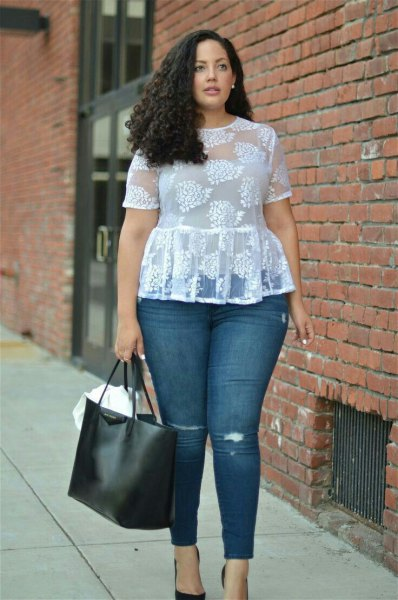 white clean top with jeans and ballet heels
