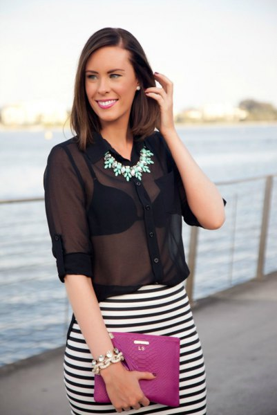 black pure chiffon blouse with striped pencil skirt