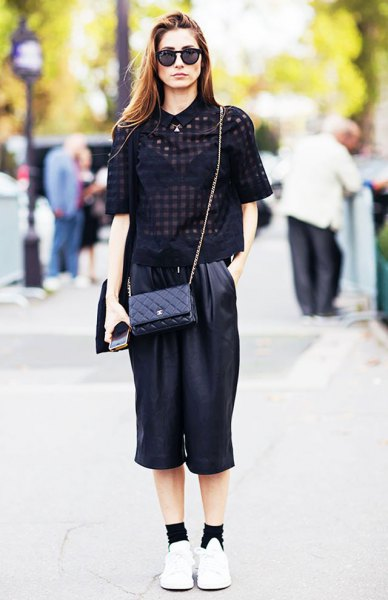 black half short sleeves with leather cropped at leg pants