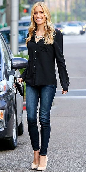 black button up shirt with dark blue jeans and white heels
