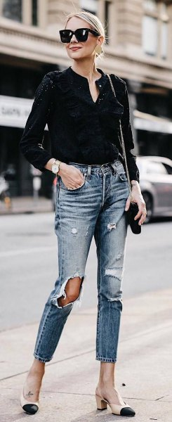 black mini v-neck blouse with ripped slim ankle jeans