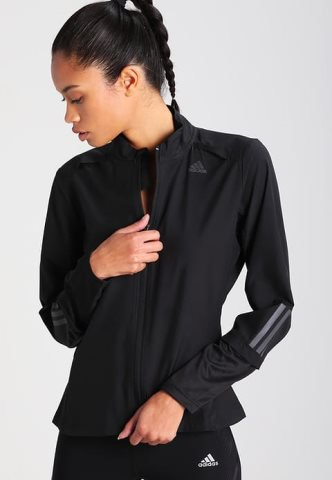 black sports coat with matching t-shirt and nylon running pants