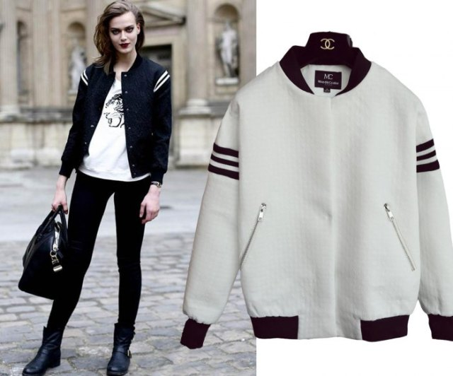black and white striped baseball jacket with printed tee