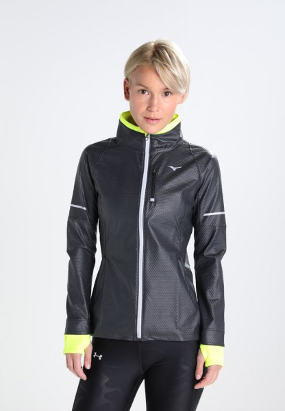 black and lemon yellow sports jacket with running pants