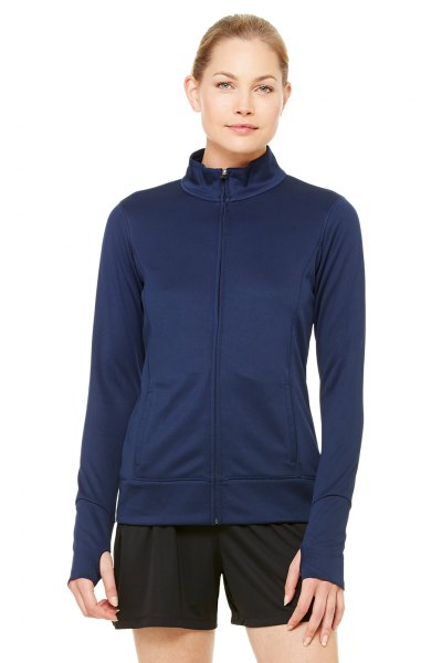 navy bomber sports jacket with black mini jogging shorts