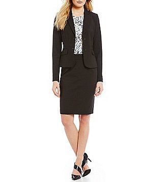 black suit consists of cardigan and pencil skirt