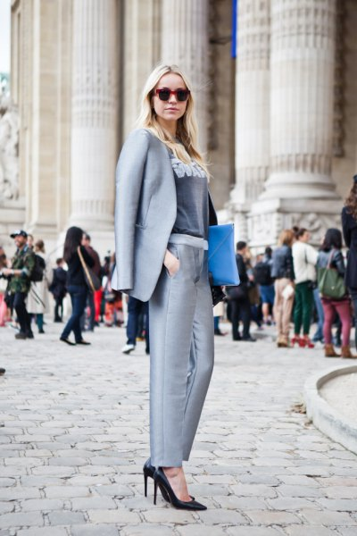 teal blue collar suit with gray velvet top