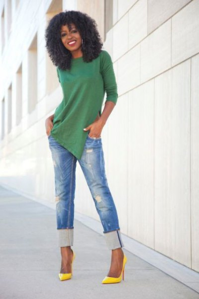 green tunic shirt with blue cuff with slim fit ripped jeans