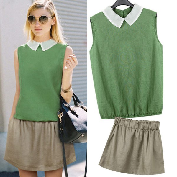 green sleeveless collar shirt with mini skater skirt