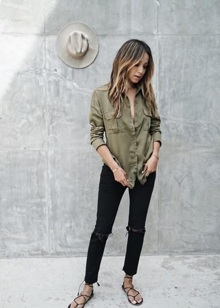 army green button up boyfriend sweater with black skinny jeans