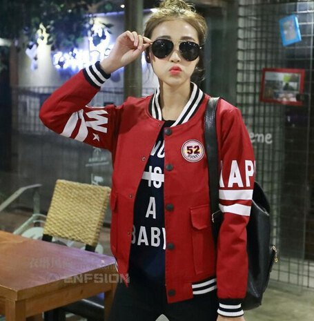 red bomber sports jacket with black print tee