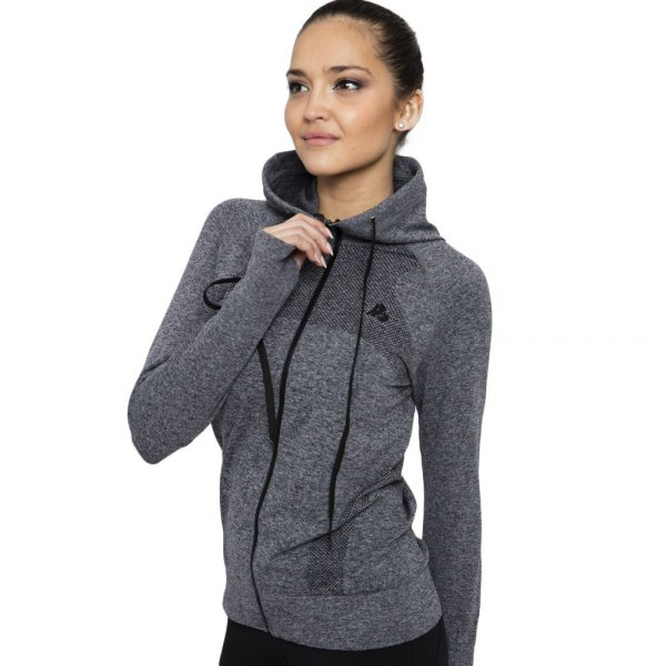gray hooded sports skirt with black jeans