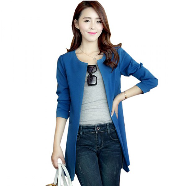 royal blue casual jacket with dark slim fit jeans