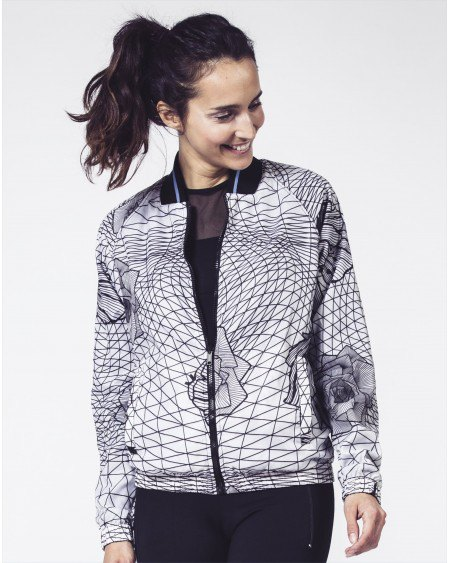 black and white printed jacket with nylon running pants