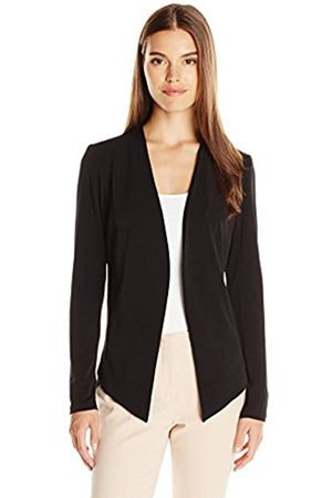 black sport blazer jacket with white scoop neck top and pale pink pants
