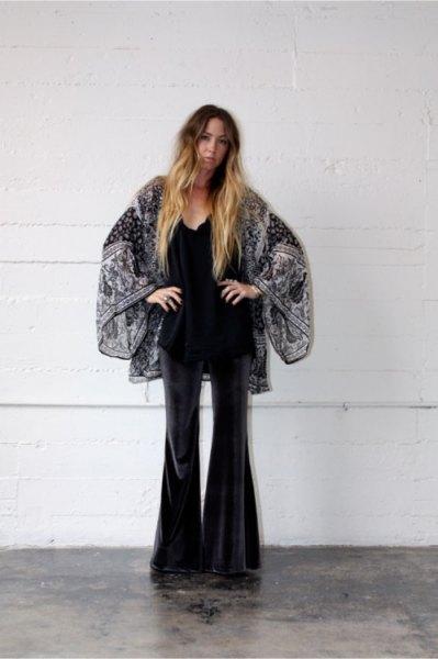 black and white printed kimono with velvet watch pants