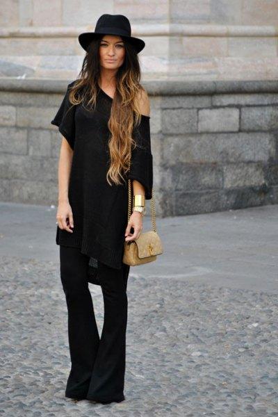 a shoulder dress with black bell bottoms