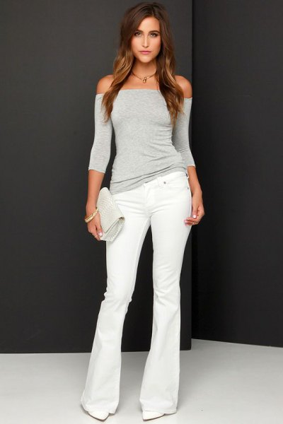 gray from the shoulder shape matching top with white puffed jeans