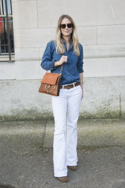 blue chambray button up shirt with white bell bottom jeans