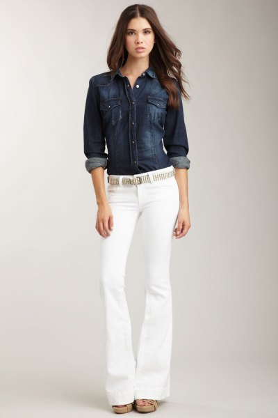 dark blue denim button shirt with belt white jeans