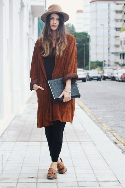 light brown felt hat with suede relaxed fit long jacket