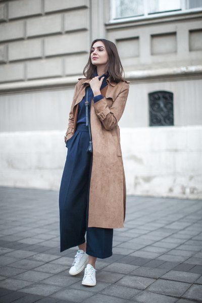 mid length gray brown suede coat with navy blue leggings