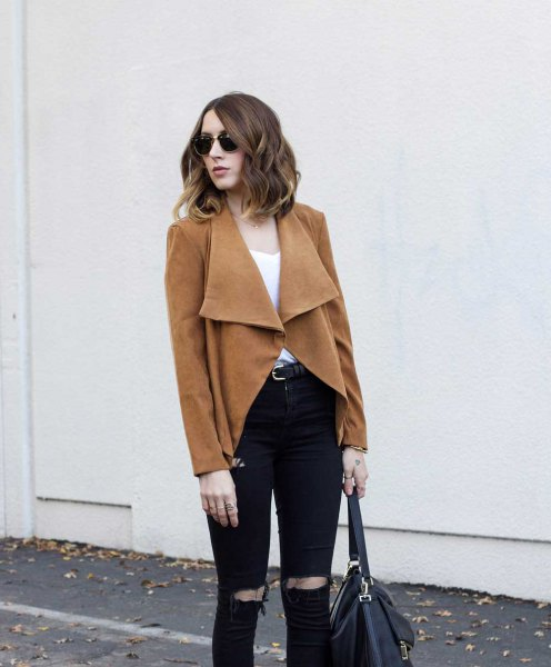 brown blazer skirt with black ripped slim fit jeans