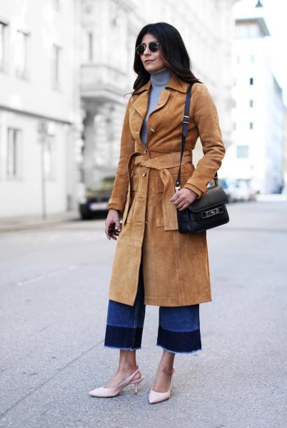 camel belt midi length suede rock with blue jersey neck sweater