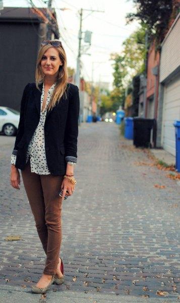 black blazer with white and black polka dot blouse
