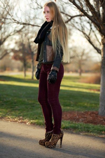 dark brown leather jacket with black corduroy skinny jeans