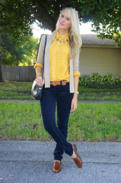 lemon yellow and white plaid shirt with pink pink blazer