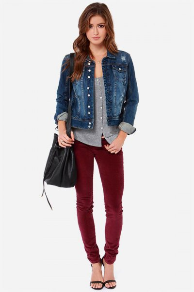 blue denim jacket with gray scoop neck button up shirt