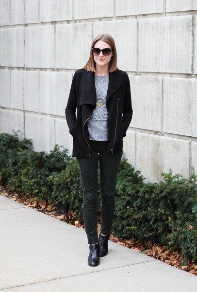 black fleece jacket with gray crew crew shirt and dark gray corduroy jeans