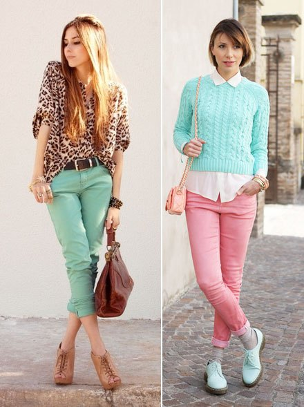sky blue cable knitted cropped sweater with white shirt and pink jeans